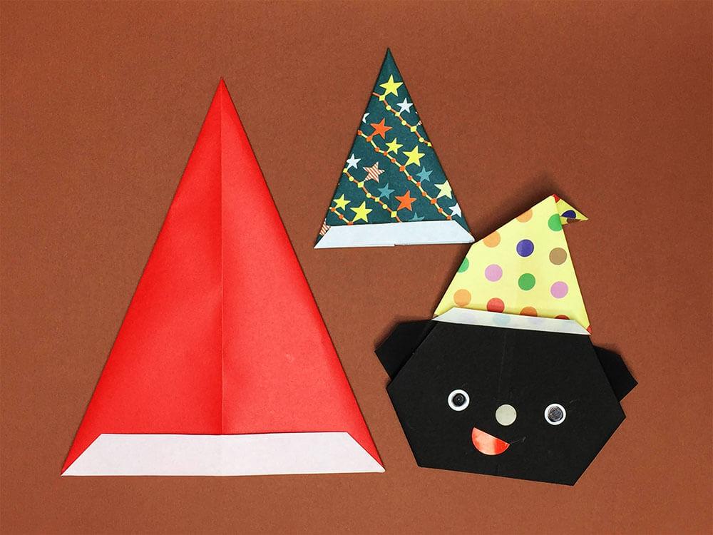 折り紙で折ったサンタの帽子