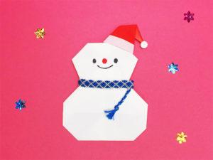 折り紙で折った雪だるま