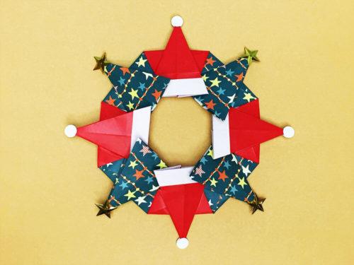 折り紙で折ったクリスマスリース