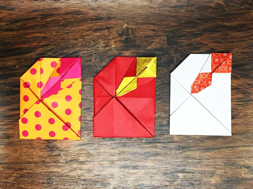 折り紙で折ったのし付きのポチ袋