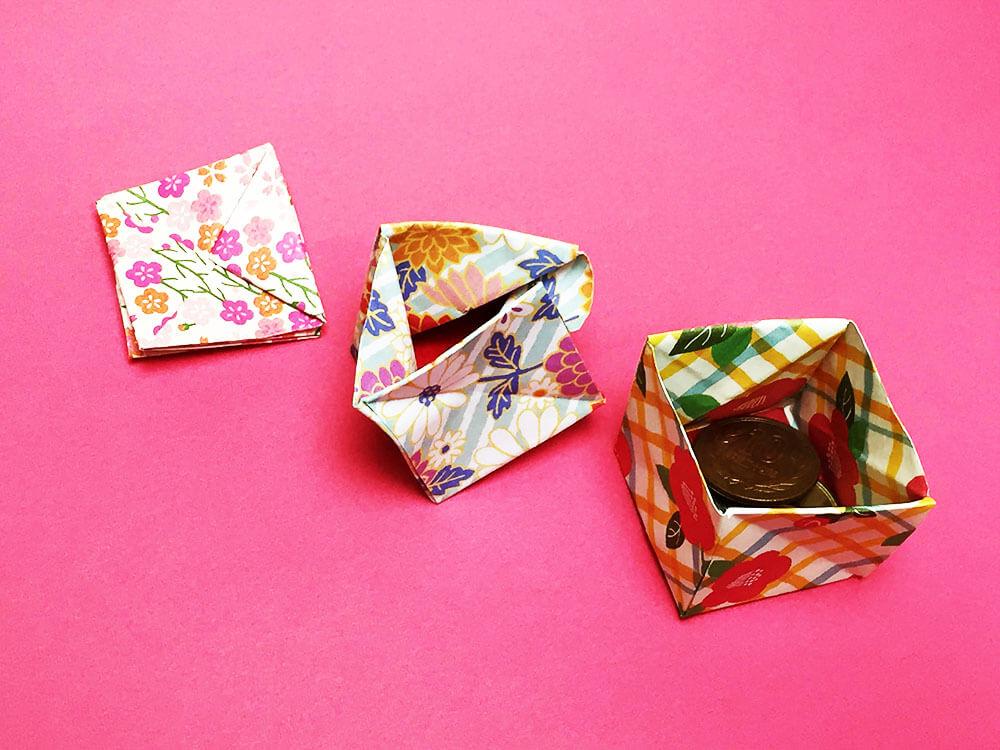 折り紙で折った小銭入れ