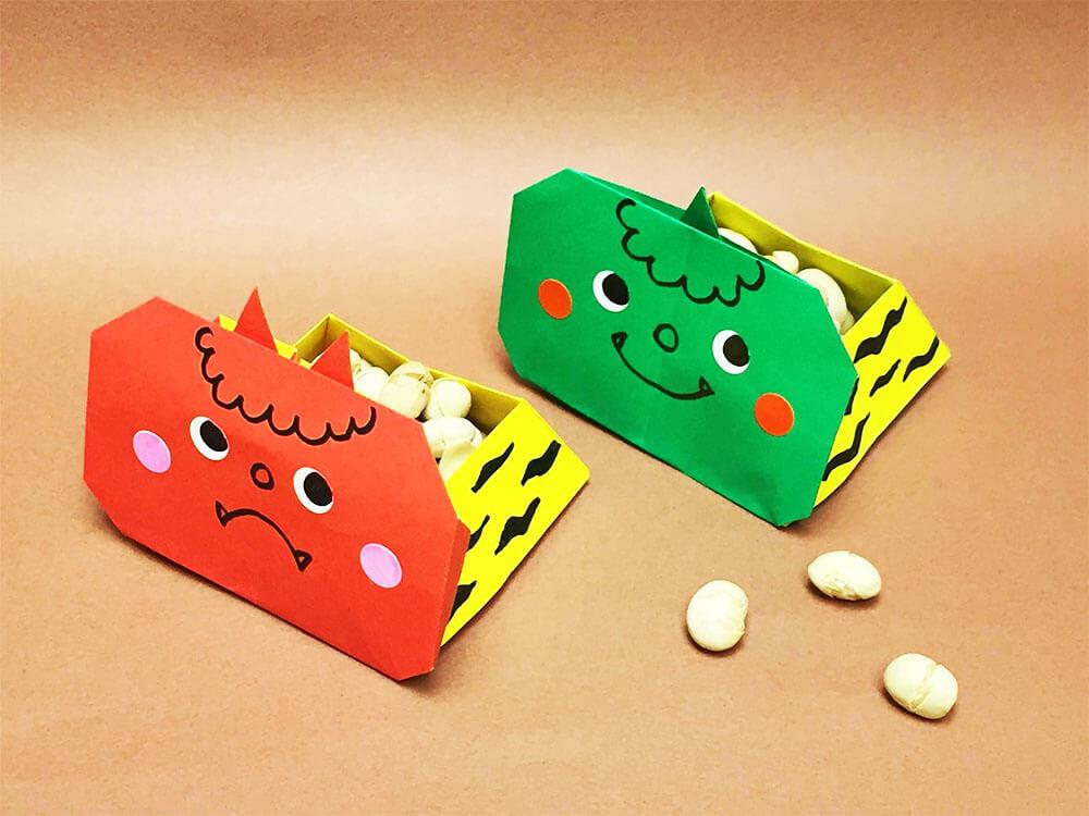 折り紙で折った鬼の豆入れ箱