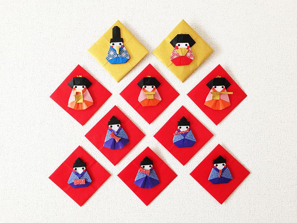 折り紙で折った雛飾り