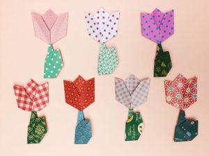折り紙で折ったチューリップ