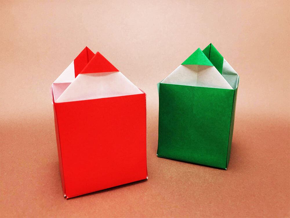 折り紙で折った鉛筆立て