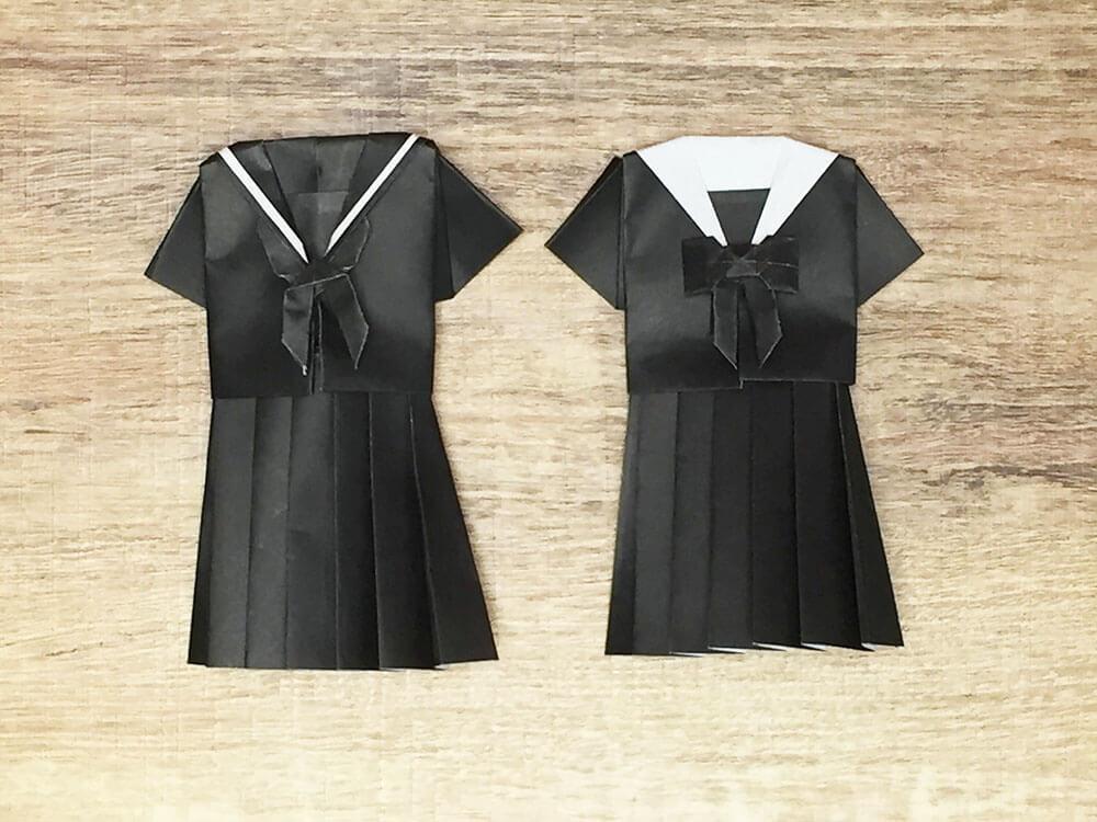 折り紙で折ったセーラー服