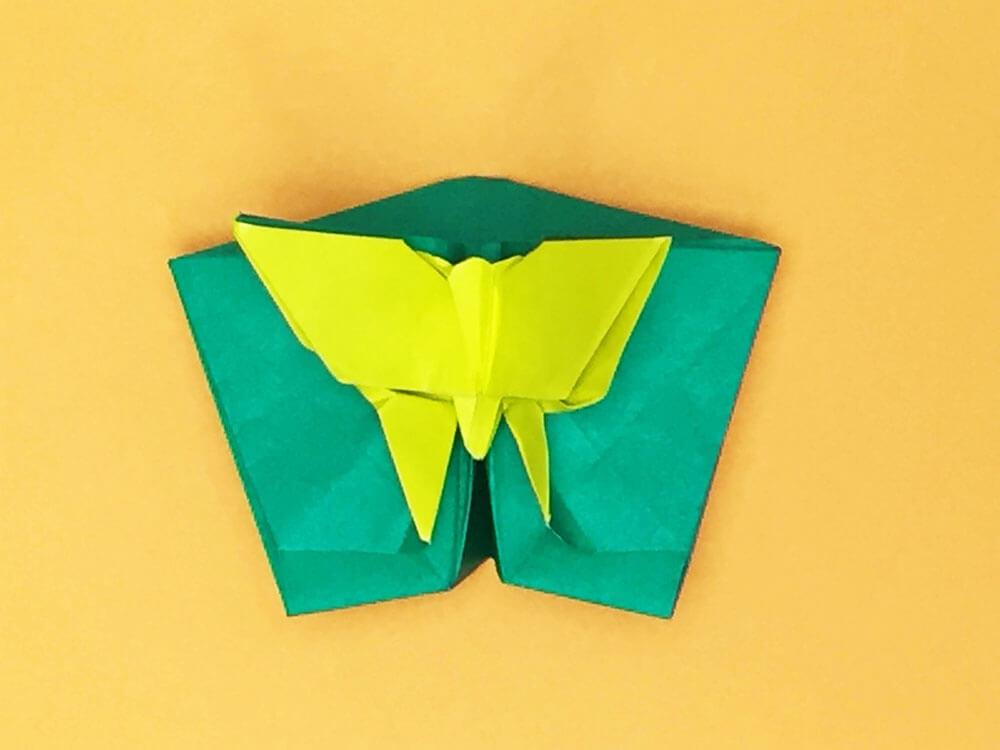 折り紙で折った蝶のポップアップカード