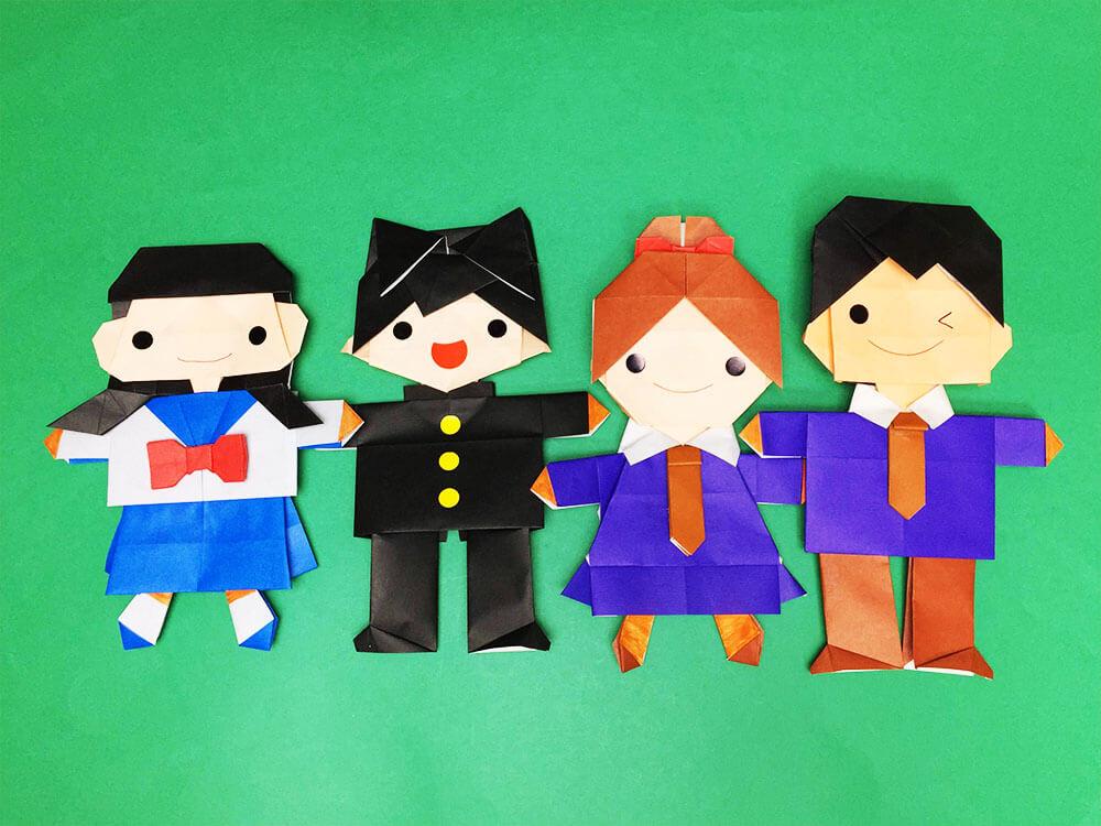 折り紙で折った制服