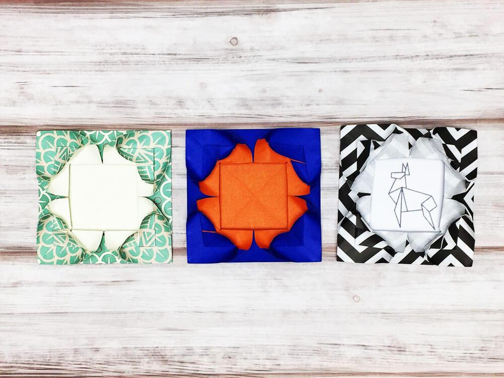 折り紙で折ったフォトフレーム