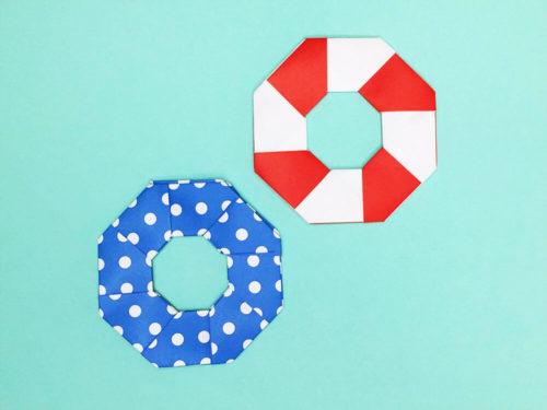折り紙で折った浮き輪