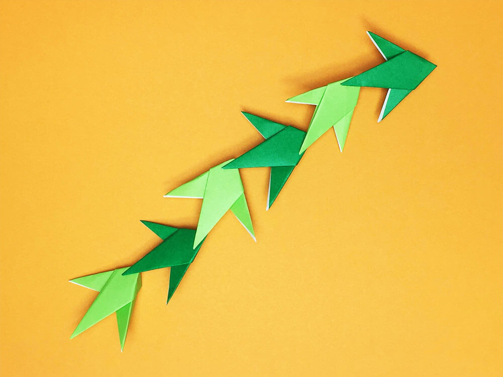 折り紙で折った笹の葉