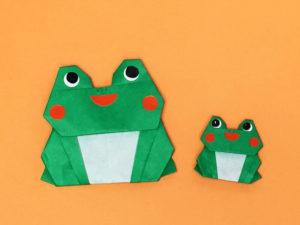 折り紙で折ったカエル