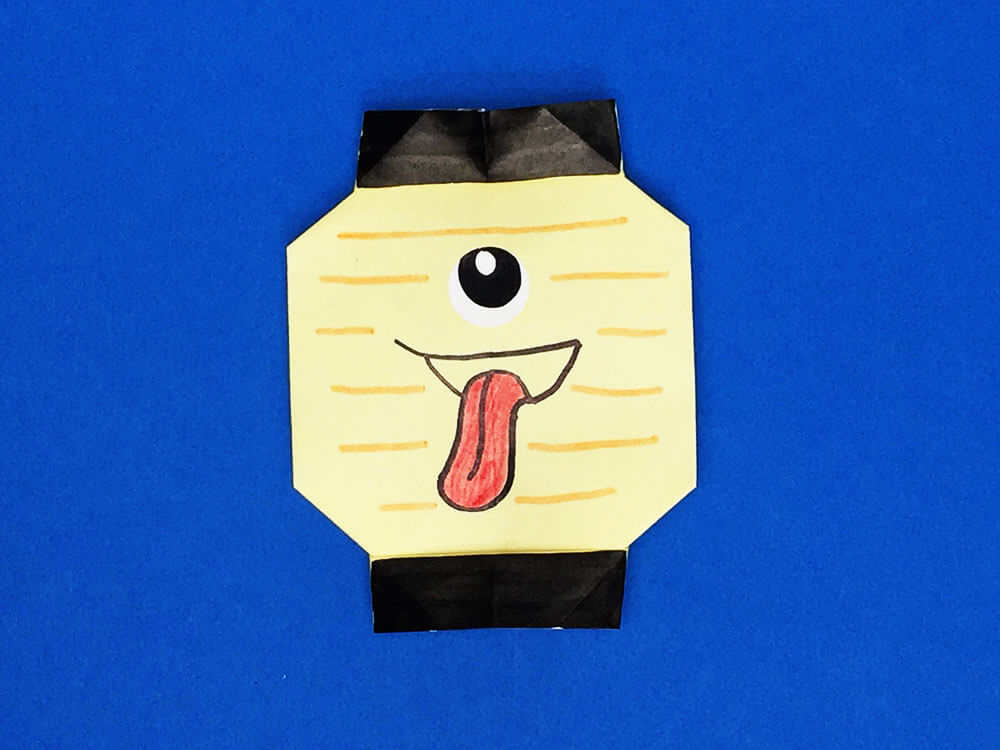 折り紙で折ったちょうちんおばけ