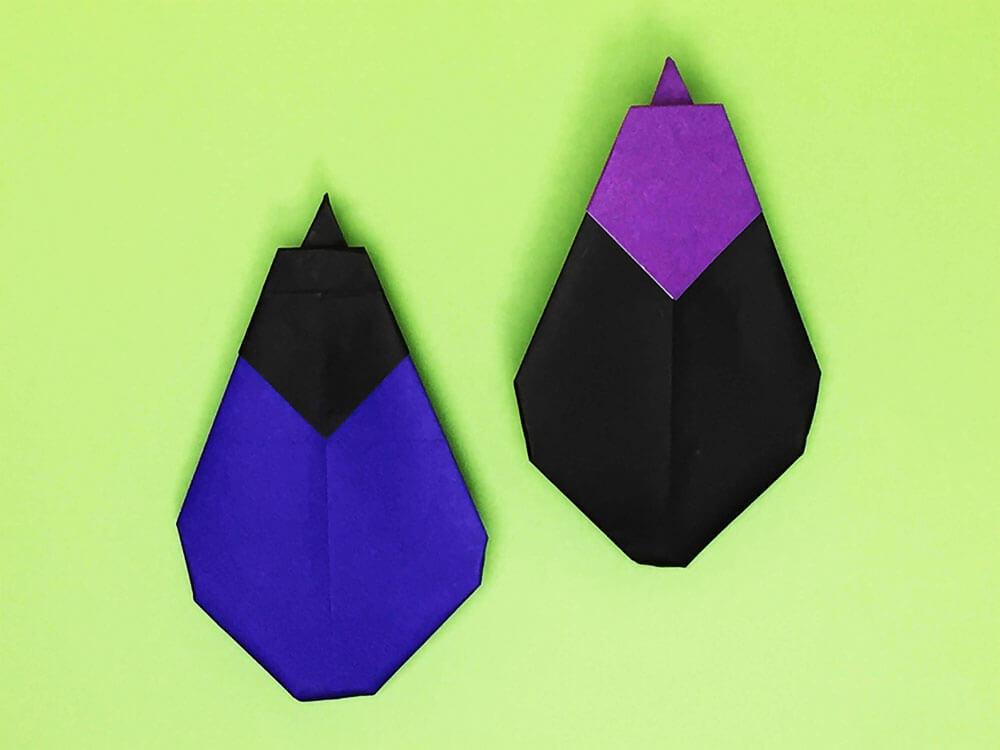 折り紙で折ったナス