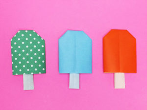 折り紙で折ったアイス