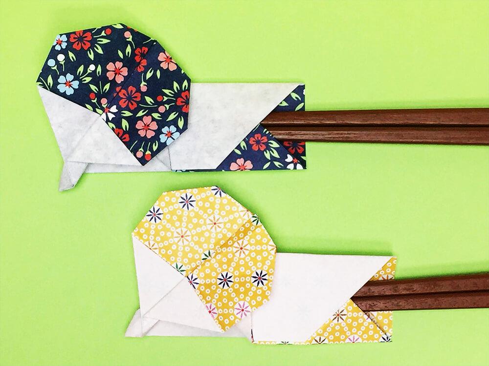 折り紙で折ったうちわの箸袋