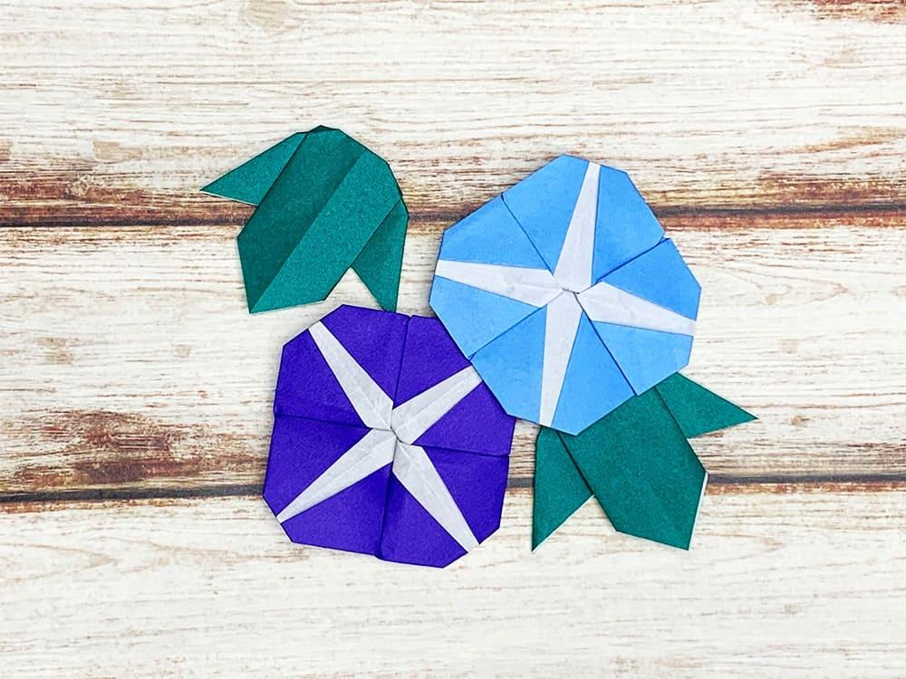 折り紙で折ったアサガオの葉っぱ