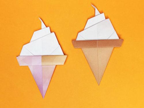 折り紙で折ったソフトクリーム