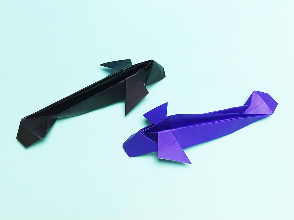折り紙で折ったウナギ