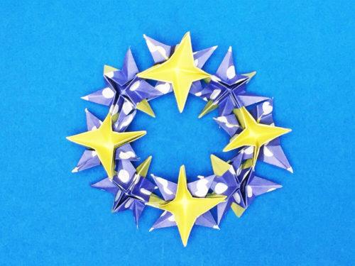 折り紙で折った星のリース