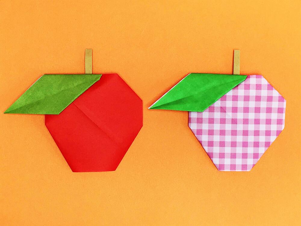 折り紙で折ったりんご