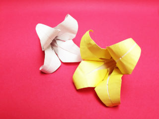 折り紙で折ったユリ