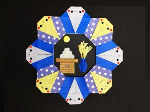 折り紙で折ったお月見リース