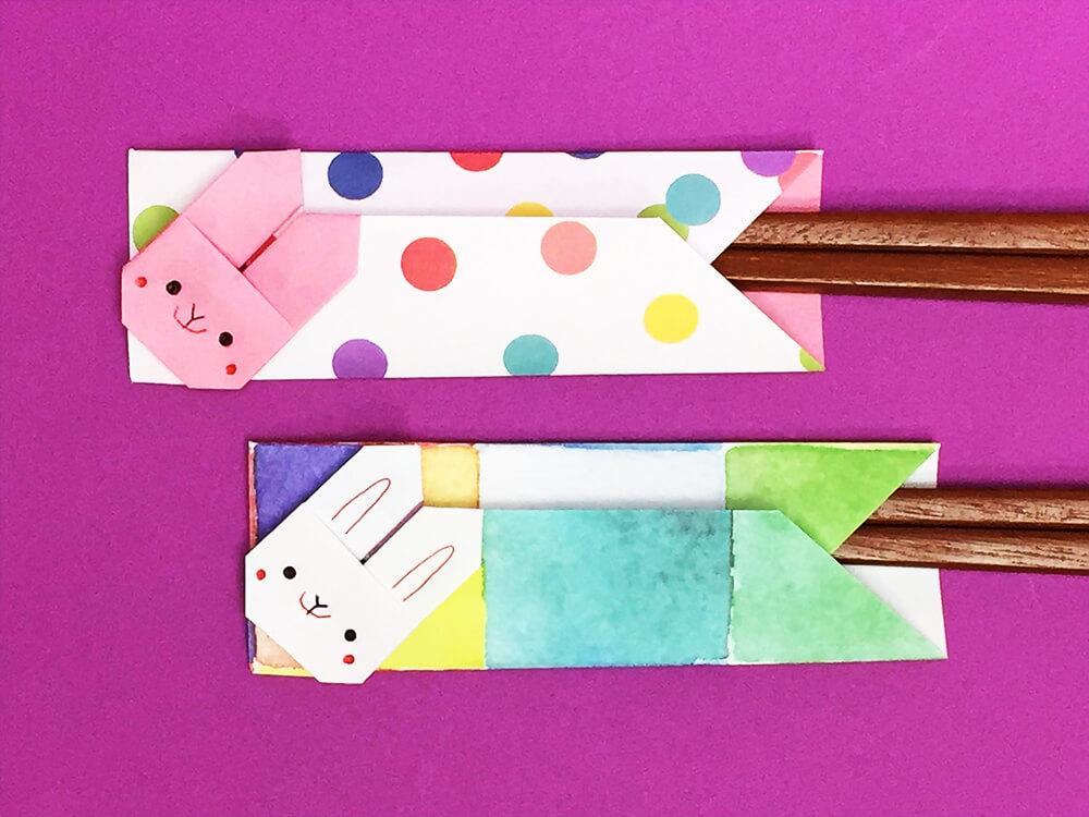 折り紙で折ったうさぎの箸袋