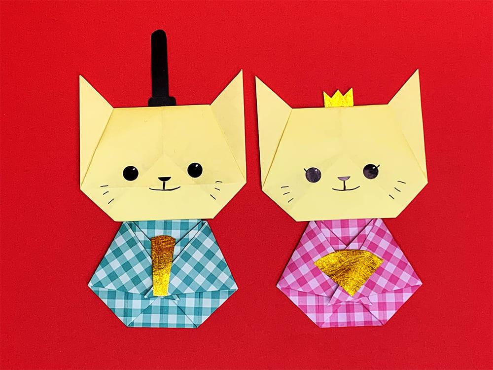 折り紙で作ったネコのお雛様
