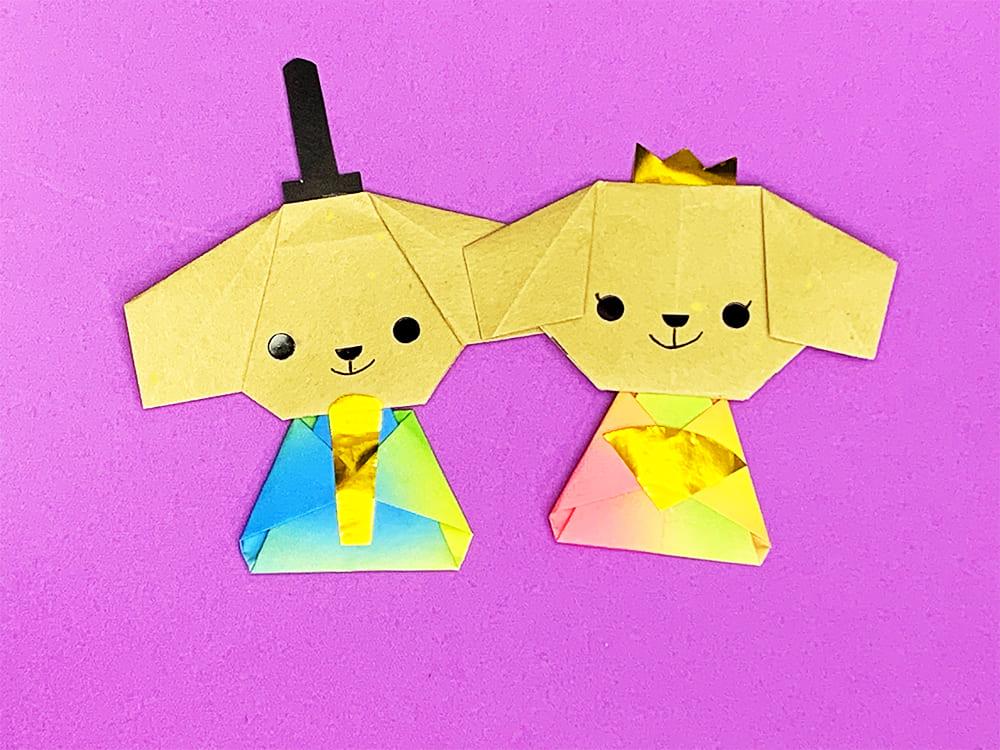折り紙で作ったイヌのお雛様