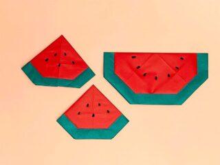 折り紙で折ったすいか