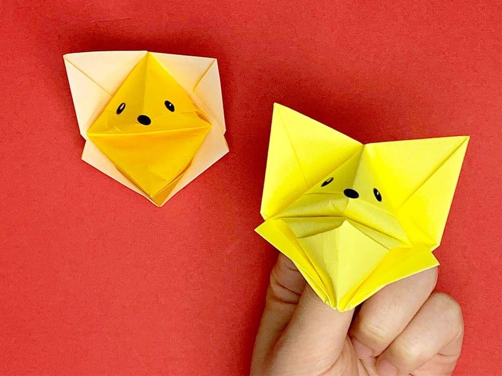 折り紙で折ったおしゃべりキツネ