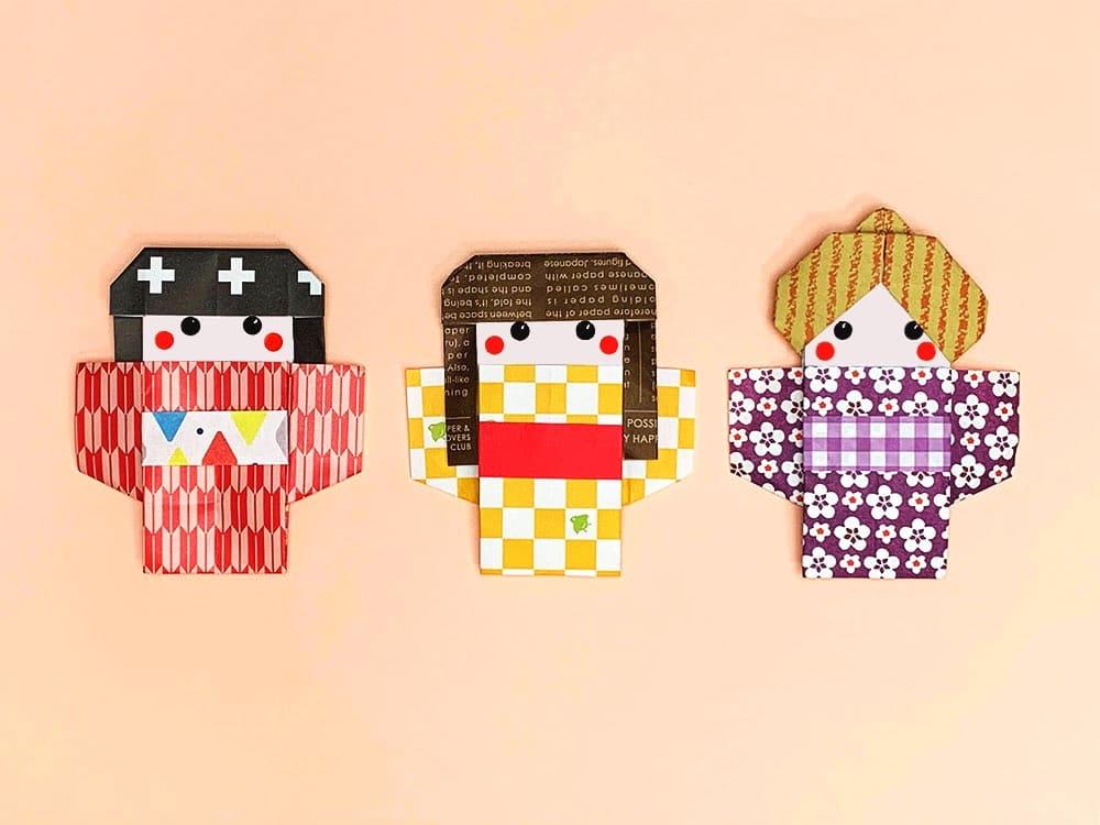 折り紙で折った着物の女の子