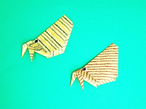 折り紙で折ったヤドカリ