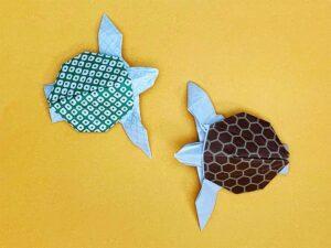 折り紙で折ったウミガメ