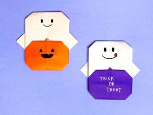 折り紙で折ったオバケとかぼちゃ