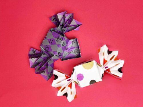 折り紙で作ったキャンディボックス