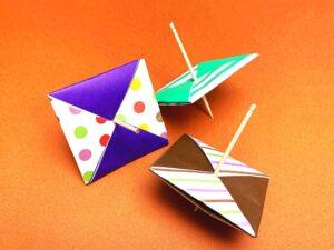 折り紙で折ったコマ