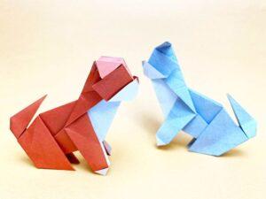 折り紙で折ったイヌ